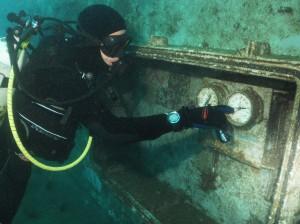 Joe chcks out the gauges on the Ex-HMAS Adelaide